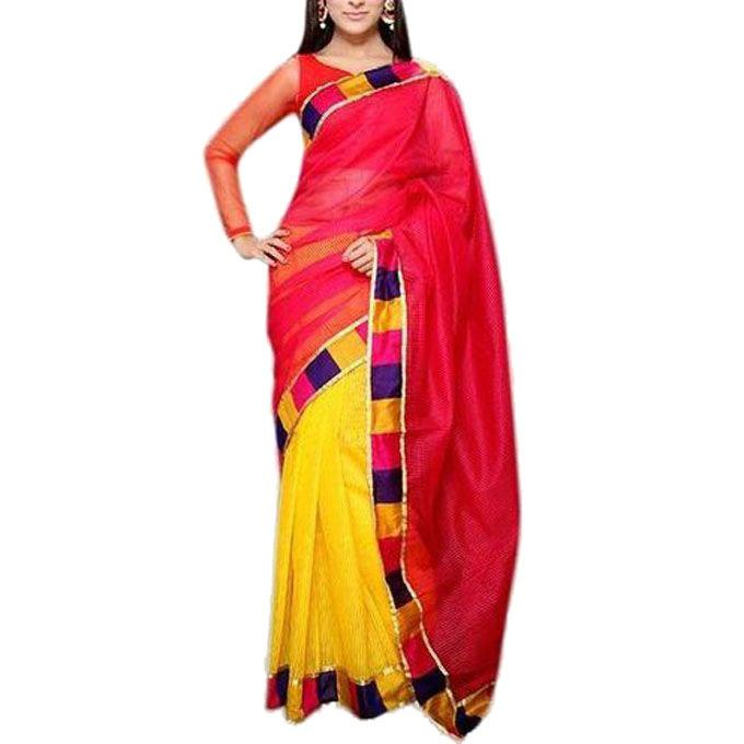 Red and Yellow Silk Per Achol Saree For Women