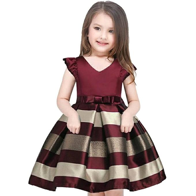 Maroon and Copper Cotton and Sateen Party Dress For Girls