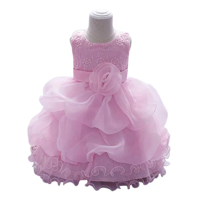 Pink Cotton and Voile Party Dress For Girls